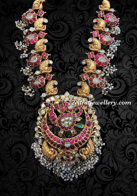 Exclusive Mango Peacock Long Set in Kundan