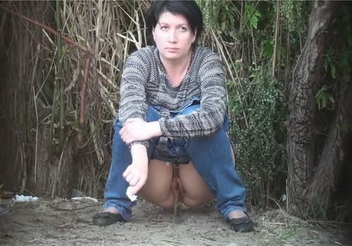 PissHunters 9300-9315 (Girls pee outdoors hidden camera. Hidden cam in public toilet)