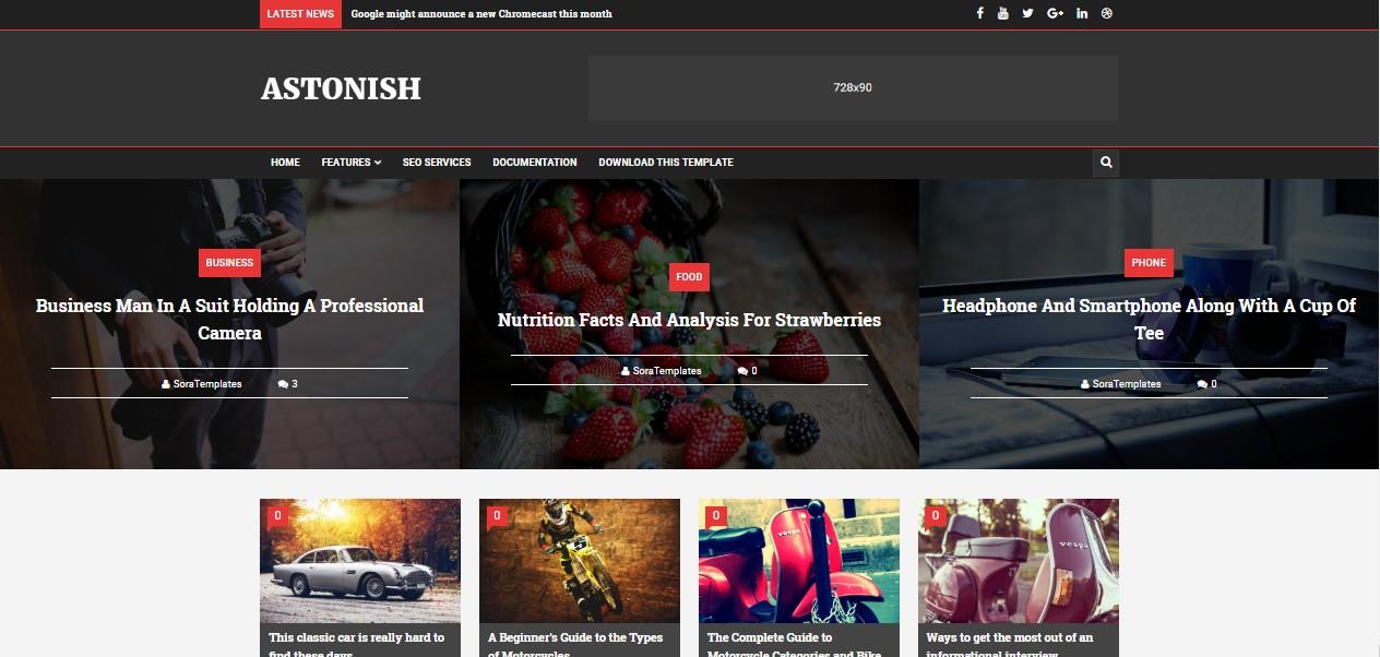 Astonish Premium Version Blogger Template free download
