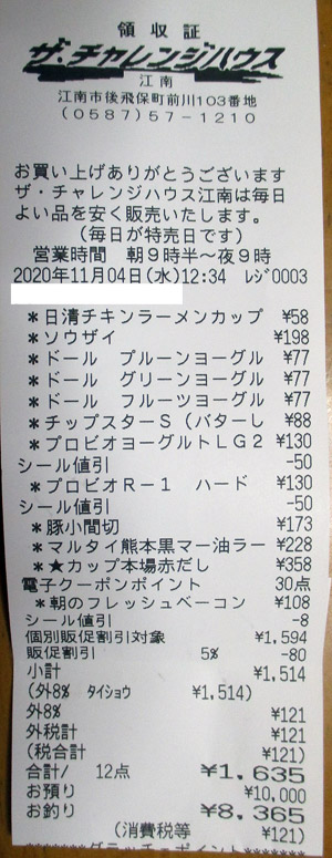 ザ・チャレンジハウス 江南店 2020/11/4 のレシート