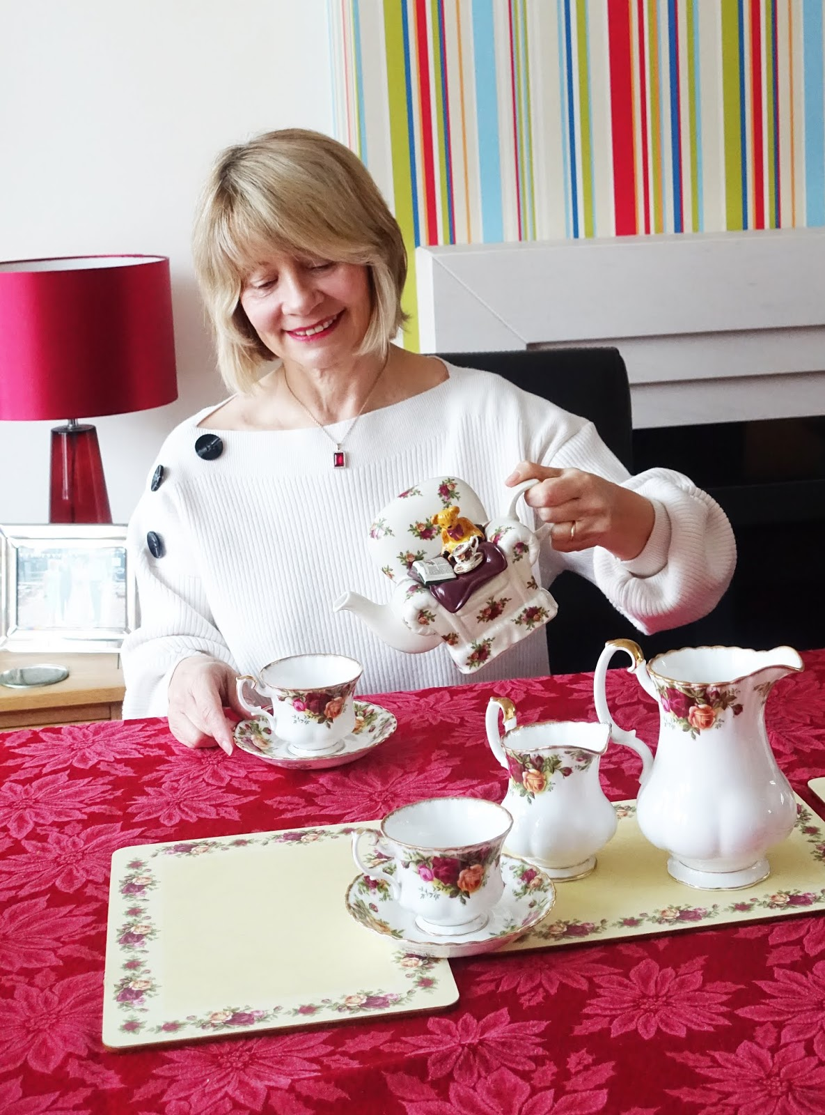 Gail Hanlon from Is This Mutton? takes tea with her Royal Albert Old Country Roses tea set