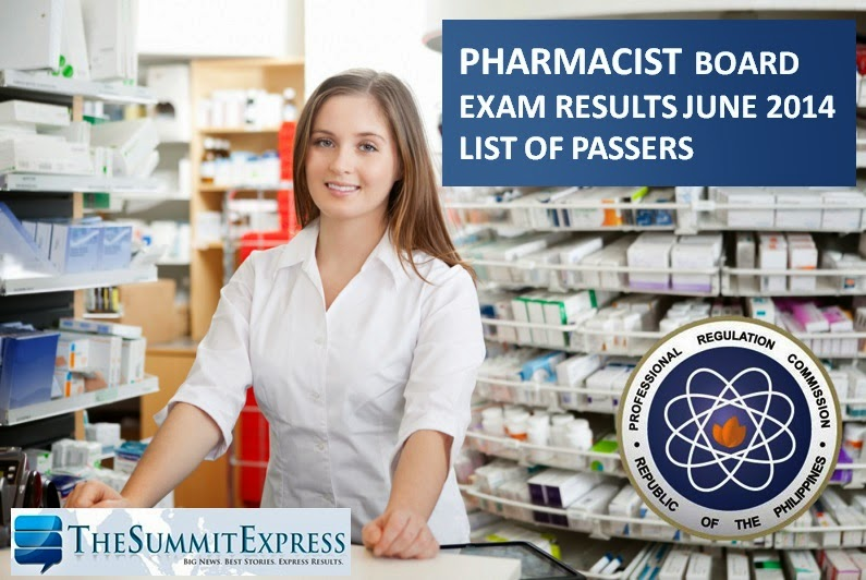 List of Passers June 2014 Pharmacist licensure exam results