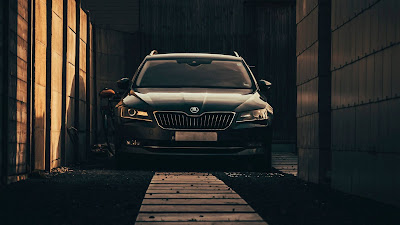 Skoda HD wallpaper, black car, front view
