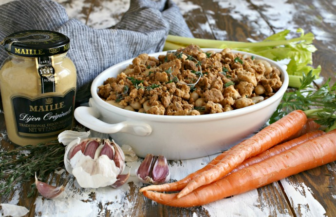 Vegetarian white bean casserole with a savory crumb topping.