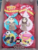 Cupcake Ulang Tahun Fondant 2d Romantis