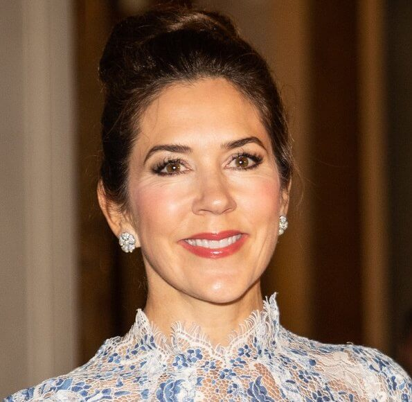 Princess Marie wore a metallic tulle midi dress by Christopher Kane. Crown Princess Mary wore a print lace dress by Elsa Adams