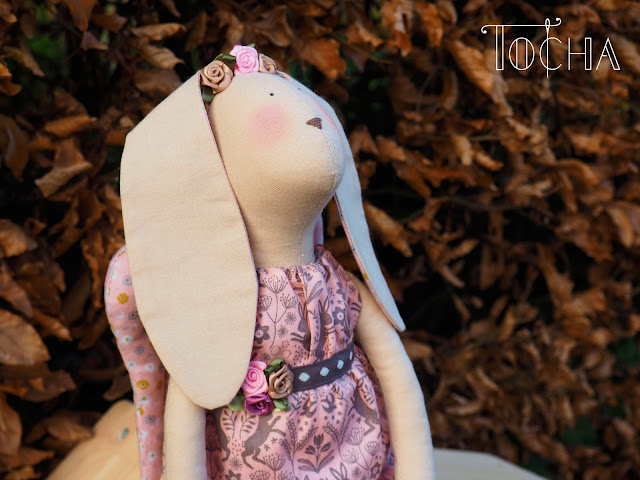 rabbit, bunny, rag doll, Tilda, hand-made, gift, dolls house, cotton, stuffed toy, Lewis & Irene,