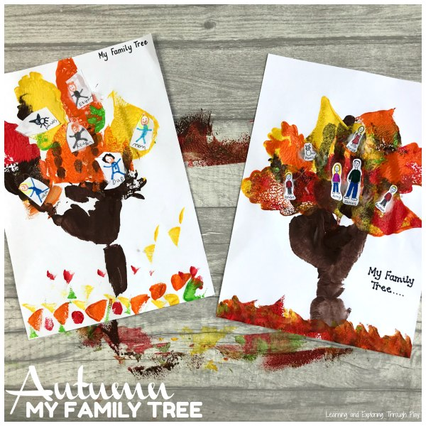 Autumn Family Tree Hand Print Craft