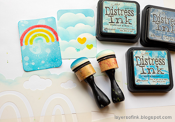 Layers of ink - Rainbow Artist Trading Cards Tutorial by Anna-Karin Evaldsson.