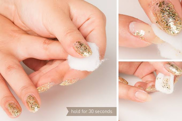 Use cotton bud to remove nail glitter polish