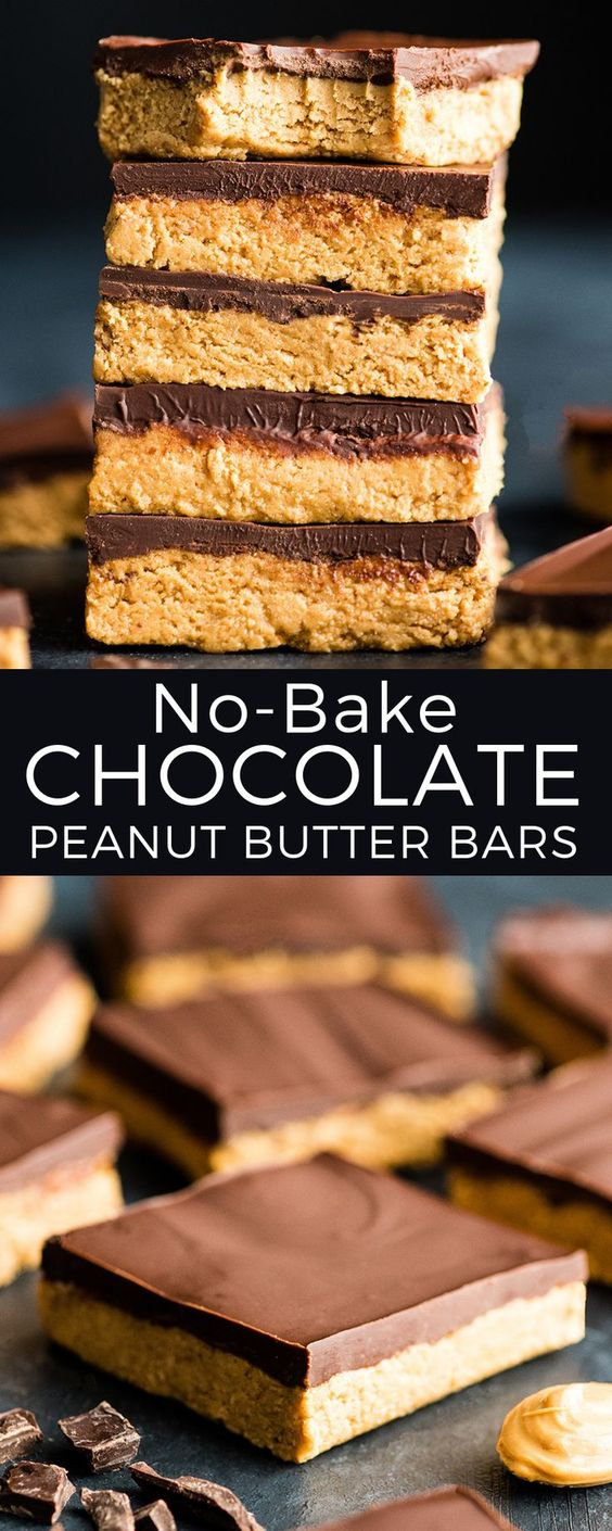No-Bake Chocolate Peanut Butter Bars are SO easy to make! This recipe is made with 7 ingredients and is ready in 15 minutes! , Plus they can be made vegan (dairy-free) or gluten-free!