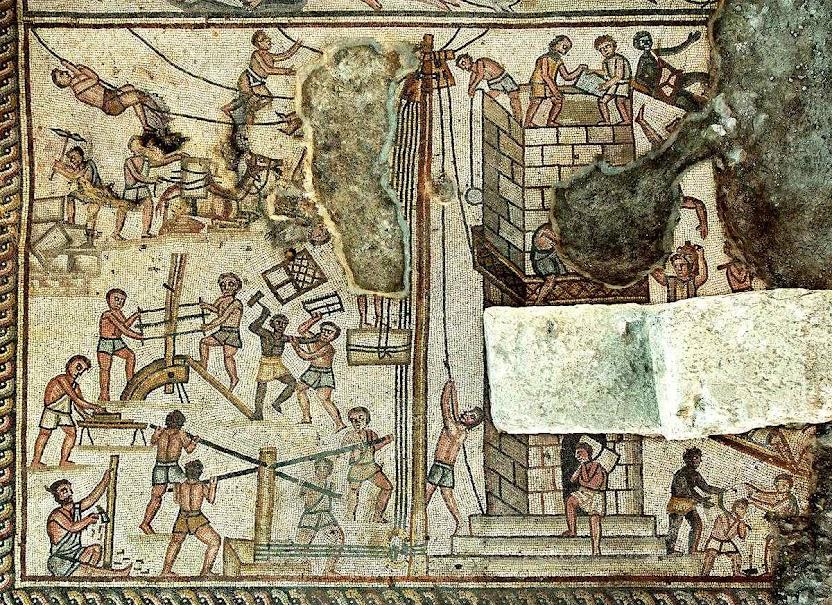 Construção da Torre de Babel, mosaico da sinagoga de Huqoq, Galileia, Israel.