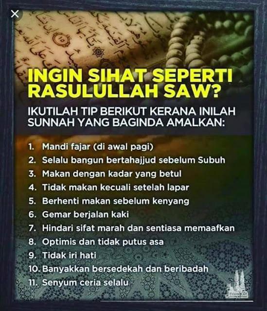 11 Tips Sihat Cara Nabi
