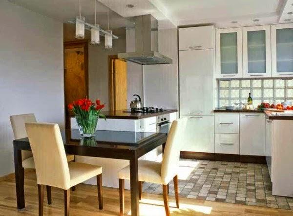 Model dapur mungil dan meja makan moderen yang nyaman