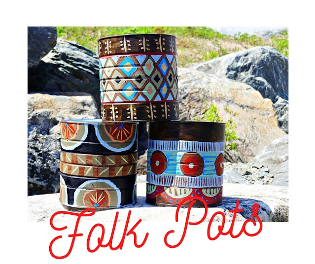 DIY Folk Pots made from repurposed coffee tins.