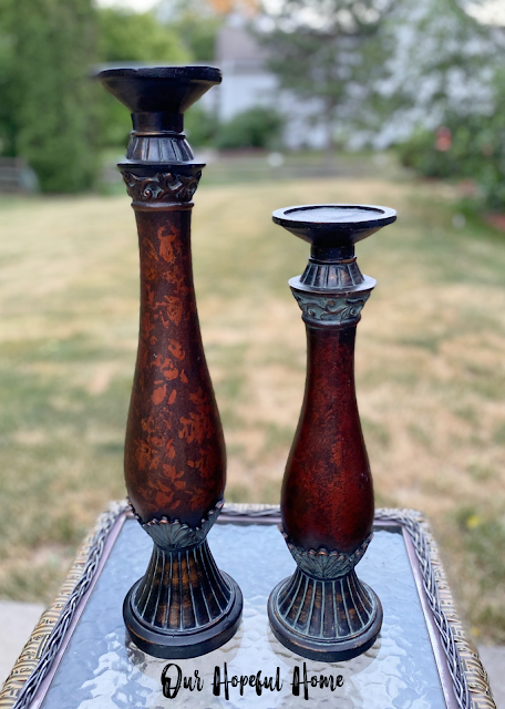 tall brown candle holders