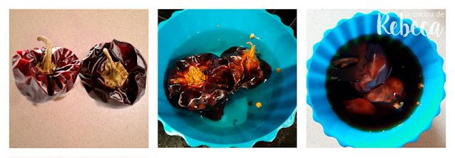 Receta de salsa romesco: hidratar las ñoras
