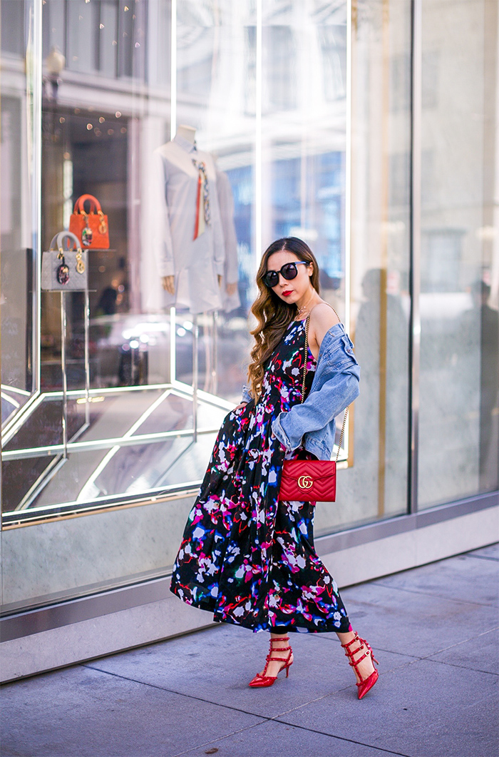 1 State Pleated Culotte Jumpsuit, floral jumpsuit, denim jacket, karen walker super duper sunglasses, gucci marmont wallet on the chain, gucci marmont shoulder bag, valentino rockstud, valentino rockstud heels, kendra scott choker necklace, san francisco fashion blog, san francisco street style, spring outfit ideas