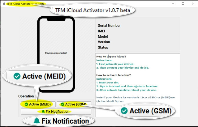 Latest TFM iCloud Activator v1.0.7 Beta Free Download  Fix Notification Added