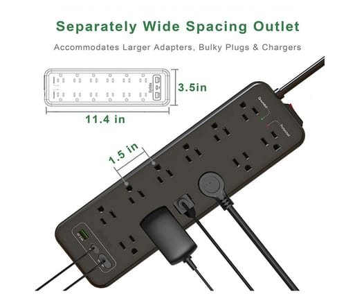 EyGde Surge Protector with 12 Widely Spaced Outlets