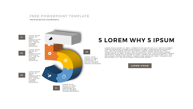 3D Puzzle Infographic Elements For PowerPoint Template with Number 5 in White Background