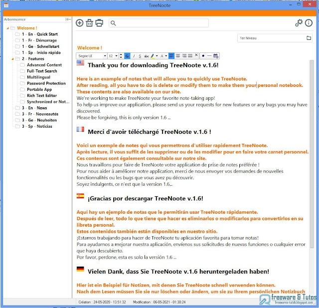 TreeNoote : un logiciel portable de prise notes à (re)découvrir