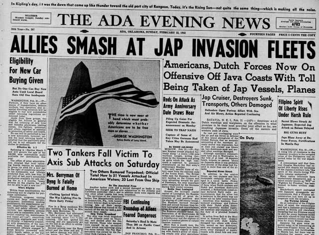 Ada Texas Evening News, 22 February 1942, worldwartwo.filminspector.com