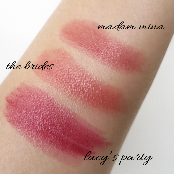 Green organic natural beauty brand ILIA lipstick new shades Lucy's Party The Brides Madam Mina swatches