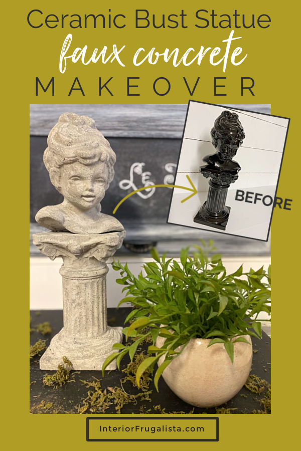 How to make thrift store decor look like real concrete! A faux concrete Scioto ceramic bust statue makeover with chalk paint and texture additive. #upcycledbuststatue #fauxconcretegardenstatue #ceramicbuststatuemakeover