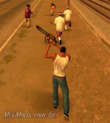 gta sa san mod cleo chainsaw run flee ballas correm assustam