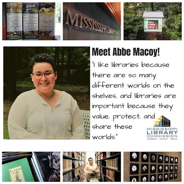 3 small picture of MLC at top and at bottom. In middle is a photo of a smiling woman wearing glasses. A wooded area is behind her. Text reads I like libraries because there are so many different worlds on the shelves, and libraries are important because they value, protect, and share these worlds.