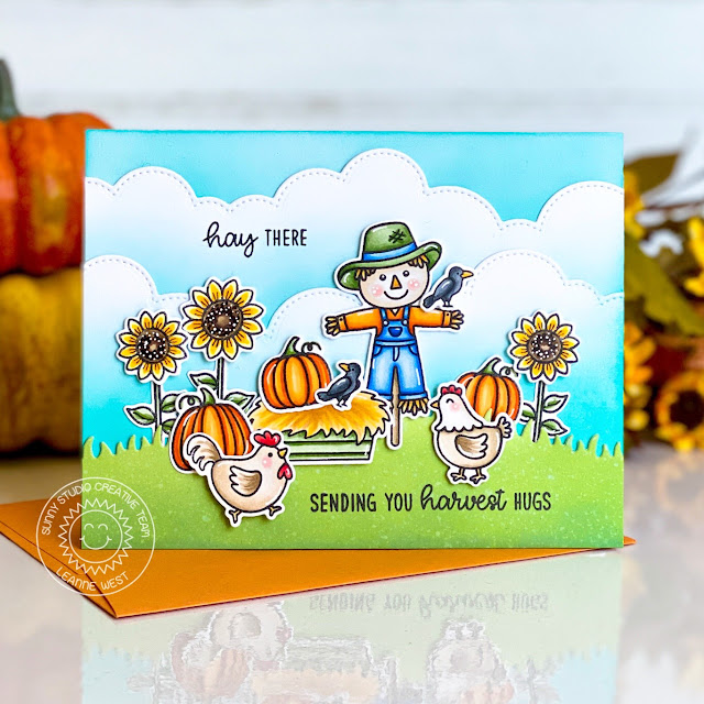Sunny Studio Stamps: Farm Fresh Slimline Dies Happy Harvest Fall Themed Card by Leanne West