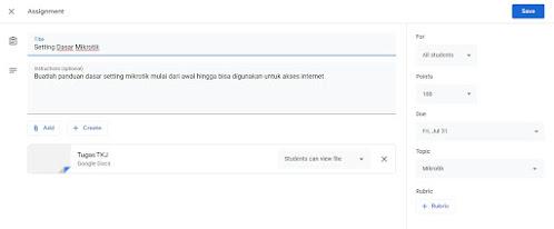 pengisian form pembuatan soal google classroom