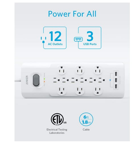 Anker 12 Outlets 3 USB Ports Surge Protector