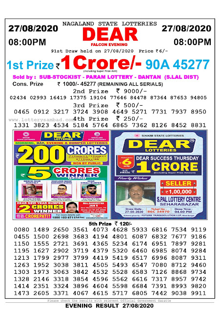 Nagaland State Lottery Sambad 27-08-2020 Today Result 8 PM