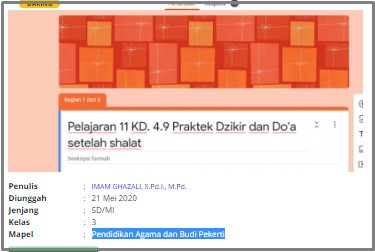Download RPP Daring PAI Kelas 3 SD