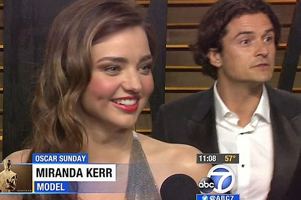 Unexpected meeting Orlando Bloom and Miranda Kerr occurred during television interviews girl