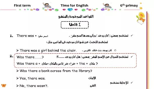 مذكرة قواعد اللغة الانجليزية منهج الصف السادس الابتدائي ترم اول