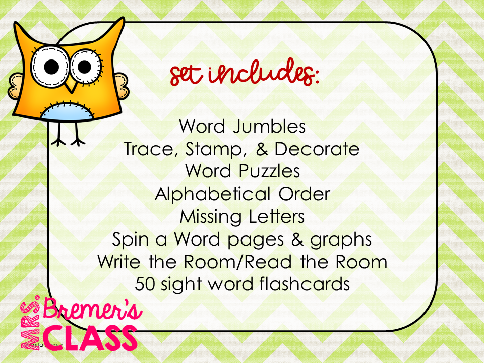 Mrs  Bremer's Class: Word Work Activities for K-1
