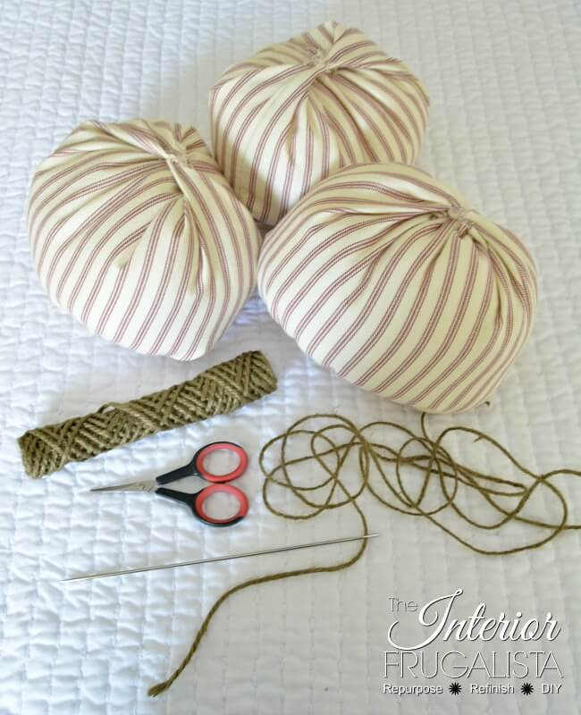 Ticking Fabric Pumpkins Tendril Supplies