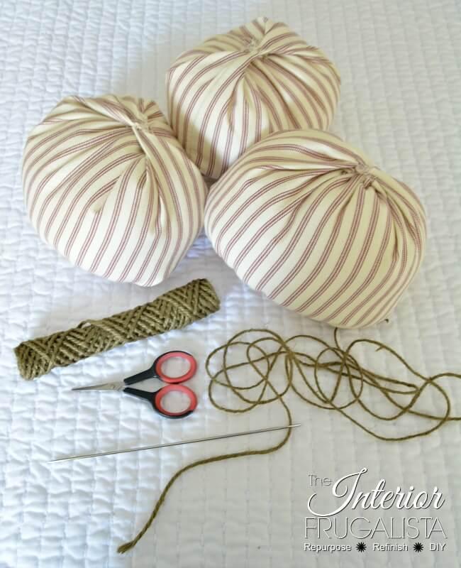 Ticking Fabric Pumpkins Tendril Supplies