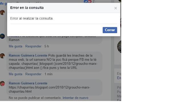 Facebook cape la meua web del chapurriau, no puc ficá cap URL, error al realizar la consulta