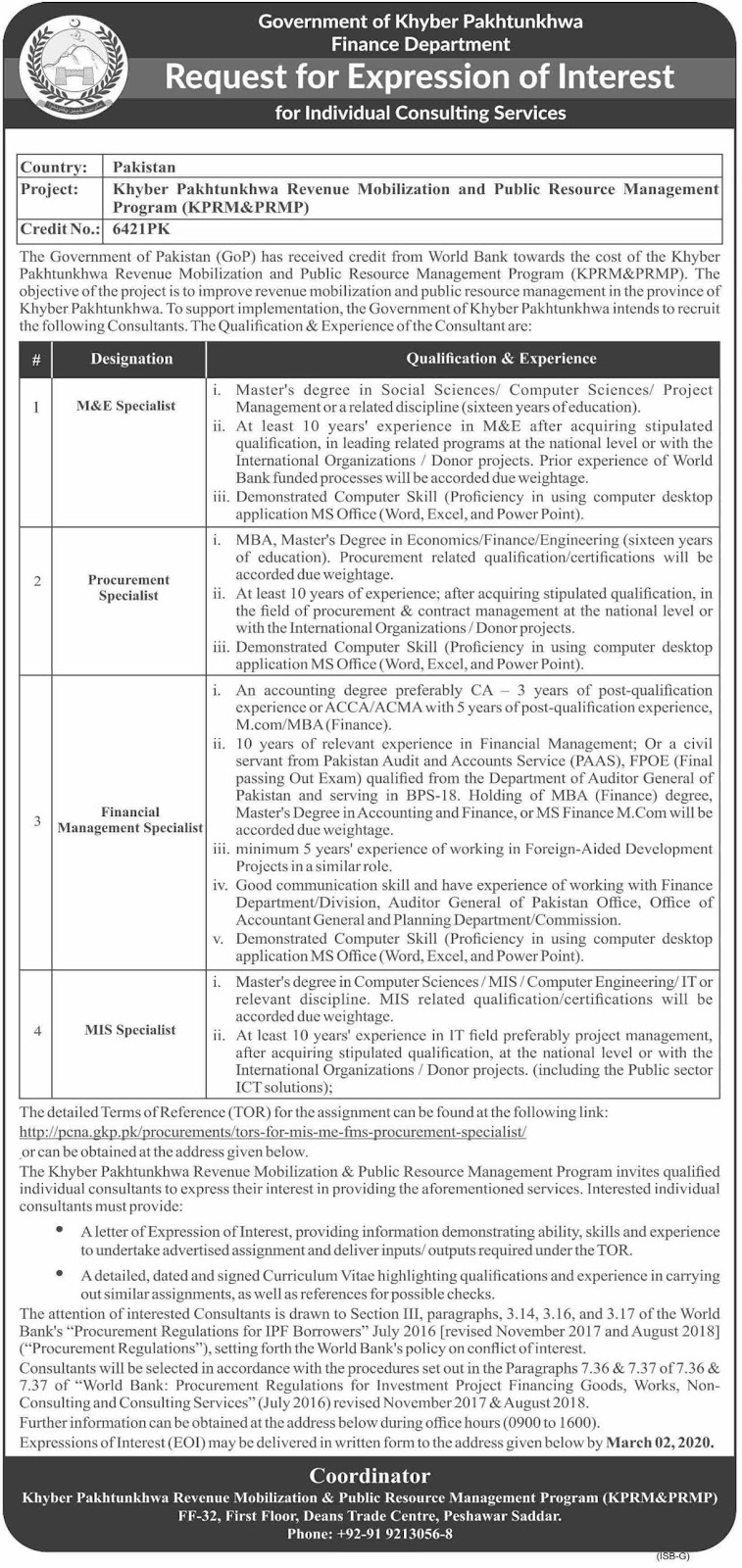 Govt jobs in Finance Department KPK For M&E Specialist, Procurement Specialist  February 2020