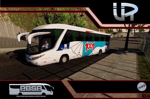 Skin Proton Bus Simulator Road - G7 1200 MB O-500 RS Auto Viação 1001