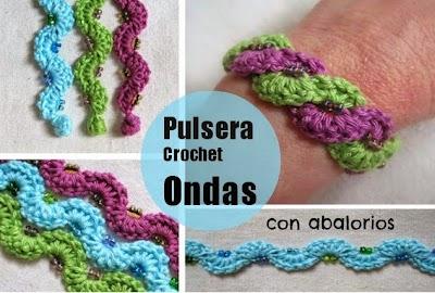 Pulsera Crochet de Ondas y Abalorios Tutorial