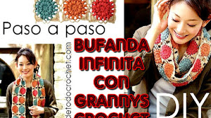 Bufanda infinita tejida con grannys crochet / paso a paso