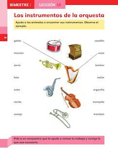 Apoyo Primaria Español 1er grado lección 18 Los instrumentos de la orquesta