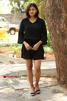 Actress Hebah Patel Stills in Black Mini Dress at Angel Movie Teaser Launch  0034.JPG