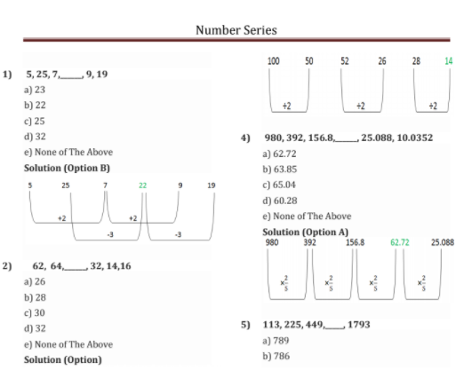 Number Series Problems with Solutions for IBPS, SBI, Insurance and Other Competitive Examinations