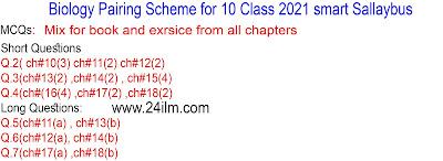 Biology pairing scheme 2021 for 10 class
